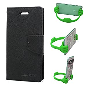 Aart Fancy Wallet Dairy Jeans Flip Case Cover for SamsungSamsung7106 (Black) + Flexible Portable Mount Cradle Thumb OK Designed Stand Holder By Aart Store.