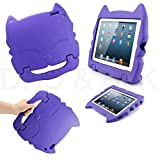 DELED Light Weight Shock Proof Super Protezione Bambini Sicurezza Cabrio Freestanding Maneggiare Regali Custodia Cover Tablet Buon Natale Custodie Kiddie divertenti per Apple iPad 2/3/4 - Porpora