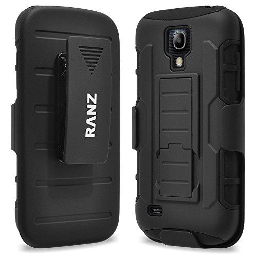 Galaxy S4 Mini Case, RANZ BLACK Rugged Impact Armor Hybrid Kickstand Cover with Belt Clip Holster Case For Samsung Galaxy S4 Mini (i9190) (Samsung Galaxy S4 Mini Kit compare prices)