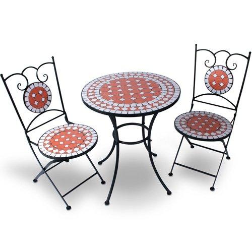 Hochwertiges & Stabiles Mosaik Gartenmöbel Set Tisch + 2 Stühle in terracotta jetzt bestellen