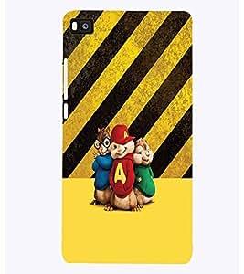 PrintVisa Cute Cartoon Chipmunks 3D Hard Polycarbonate Designer Back Case Cover for Huawei P8