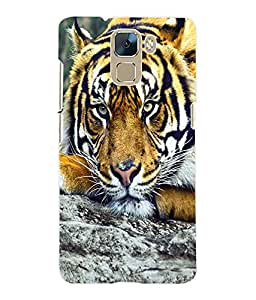 Fuson 3D Printed Tiger Designer Back Case Cover for Huawei Honor 7 - D660