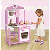 Viga Little Chef Wooden Kitchen in Pink and White #50111