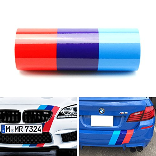 """iJDMTOY (1) 12"""" Wide M-Colored Stripe Decal Sticker For BMW Exterior Cosmetic, Such As Hood/Bonnet, Front/Rear Bumpers, Fenders, Side Skirts, Roof, etc"""
