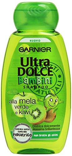 Garnier Ultra Dolce - Bambini Shampoo Alla Mela Verde E Kiwi - Districa Dolcemente, Massima Brillantezza, Non Brucia Gli Occhi - 250Ml