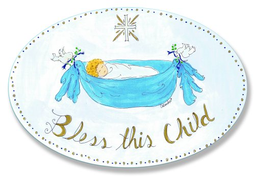 The Kids Room by Stupell Bless This Child with Baby in Blue Hammock Oval Wall Plaque
