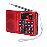 LCJ Portable FM AM Shortwave Multiband Radio Receiver with Micro TF Card and USB Driver MP3 Player USB Charging Cable 1000MAH Rechargeable Li-ion Battery (L-258-Red) (Color: Red)