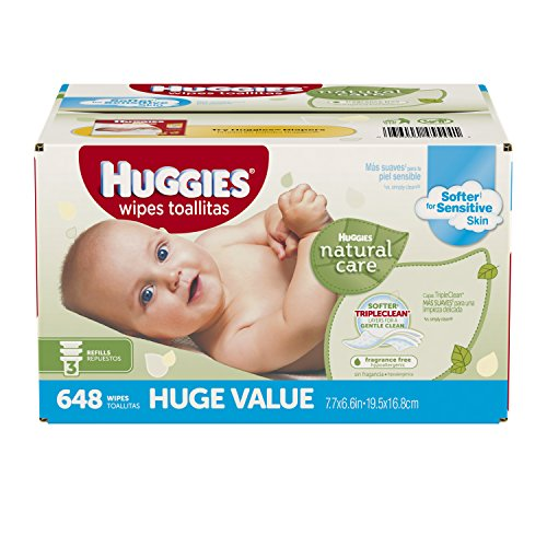 Huggies Natural Care Fragrance Free Baby Wipes Refill, 648 Count (Packaging may vary) by Huggies