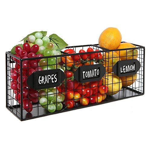 Black Metal Wall Mounted Mail Sorter / Kitchen Storage Basket / Pantry Organizer w/ Chalkboard Labels (Wall Hanging Fruit Basket compare prices)