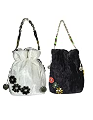 Arisha Kreation Co Women Hand Made Smart Draw String Smart Stone Potli Hand Bag Set Of 2 (Black & White)