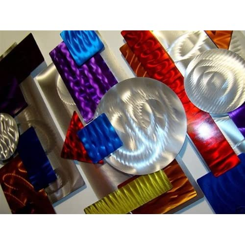 Multiple Colorful Contemporary Modern Metal Abstract Wall Art 3 Piece Color by Jon Allen