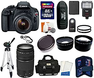 Canon EOS Rebel T5 DSLR Camera Kit with EF-S 18-55mm f/3.5-5.6 and 75-300mm f/4.0-5.6 III Lenses + 32 GB High Speed Card Master Kit
