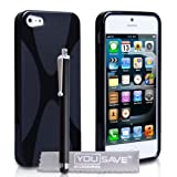 Cover iPhone 5 / 5S Custodia Silicone Gel X-Linea Nero Con Stilo Pennadi Yousave Accessories�