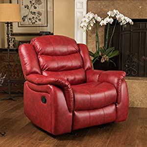 Contemporary Style Christopher Knight Home Hawthorne PU Leather Glider Recliner Club Chair with Dual Function Perpect for Media or Living Room