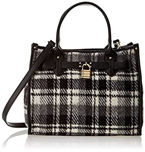 Tommy Hilfiger Heritage Lock Plaid Wool 6925576 Shoulder Bag,Black/White,One Size