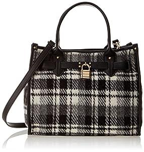 Tommy Hilfiger Heritage Lock Plaid Wool 6925576 Shoulder Bag,Black/White,One Size
