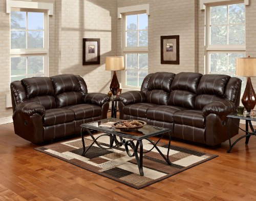 Leather Sofa: Dual Reclining Brown Leather Living Room Reclining Sofa