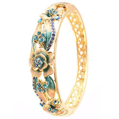 City Ouna® Elementi di Swarovski qualità in lega placcato 18k braccialetto etnico turchese Bracciale Bangle ampia per donne gioielli regalo con zirconi viola cristallo (Cloisonne34-2)