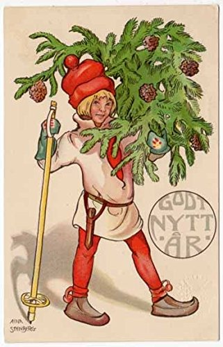 Nordic Elf Skier with Tree