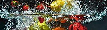Pared de cocina Artland Espejos de cocina Pared del lugar Protección contra salpicaduras seguridad - vidrio nmedia Spritzendes Fruta sobre el Agua en varios tamaños y colores disponible - 51.4x180 cm