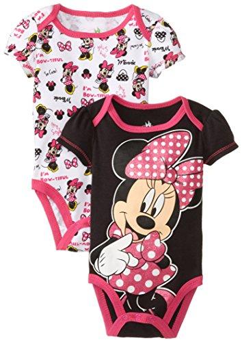 Disney Baby Girls Newborn Minnie Mouse 2 Pack Bodysuit, Black, 6-9 Months front-394486