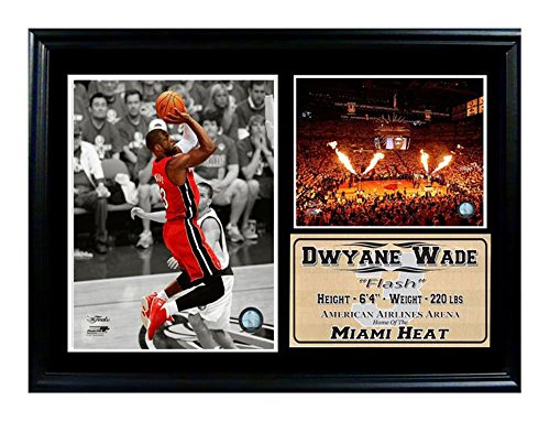 Encore Select 127 10 NBA Miami Heat Framed Dwayne Wade Photo And Dolphin  Stadium Print, 12 Inch By 18 Inch