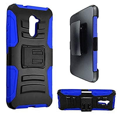 ZTE Grand X Max 2 Z988 Imperial Max Z963 Case Blue / Black Hybrid Armor Dual Layer Case w/ Kickstand and Holster + Car Charger + Free Stylus Pen + Free 3.5mm Earphone from Shoparound168