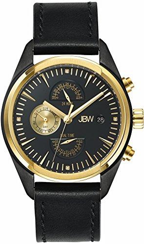 JBW  J6300C - Reloj de cuarzo para hombre, con correa de cuero, color negro