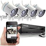 Sistema de cámaras  de Seguridad de 4 cámaras con visión nocturna Zmodo 4CH 720P PoE NVR HD cámaras de seguridad 720P, 1TB HDD Scan Smartphone QR Code Quick remoto