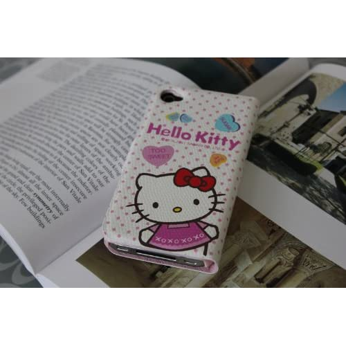 L5white Cute Hello Kitty Leather Wallet Pouch Case Cover Skin for Iphone 4 4g 4s