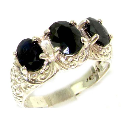 Luxury Solid Sterling Silver Natural Deep Blue Sapphire Art Nouveau Carved Large Trilogy Ring - Size 12 - Finger Sizes 5 to 12 Available - Suitable as an Anniversary ring, Engagement ring, Eternity ring, or Promise ring