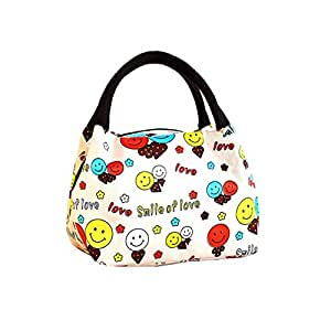airstomi smile print pattern cotton lunch bag with top zipper handbag women 39 s lunch. Black Bedroom Furniture Sets. Home Design Ideas