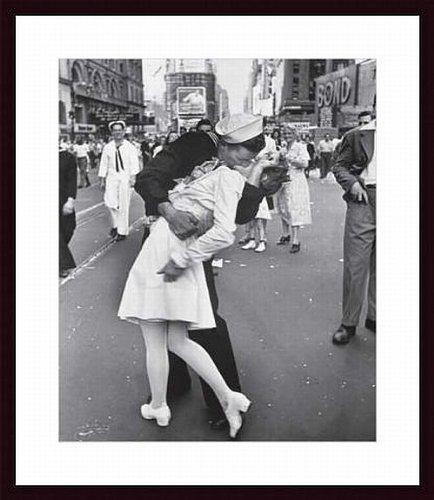 Barewalls V-J Day At Times Square By Alfred Eisenstaedt Wood Framed Art Print