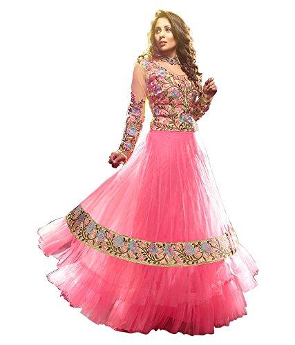 Sky Global Women's Pink Net & Georgette Long Anarkali Unstitched Salwar Suit Dress Material (Dress_122_FreeSize_Pink)