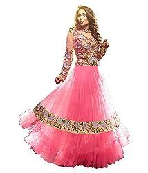 Fabian Fashion Pink Net Semi-Stiched Dress