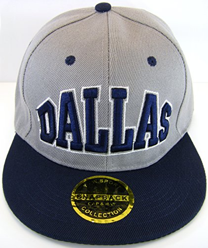 Dallas Adjustable OSFA Flat Bill Snapback Baseball Hat Cap with Snap Back Enclosure Gray with Blue Lettering and Blue Bill