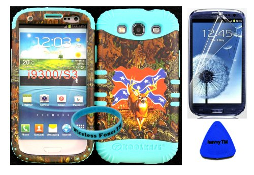 Hybrid Impact Rugged Cover Case Mossy Camo Rebel Deer Hard Plastic Snap On For Samsung Galaxy Slll S3 Fits Sprint L710, Verizon I535, At&T I747, T-Mobile T999, Us Cellular R530, Metro Pcs And All On Baby Teal Silicone Skin (Included: Screen Protector, Wri front-1013159