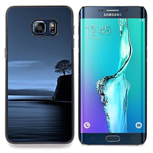 - Coast Lonely Tree Blue Ocean Night Deep/ Copertura dura Snap On Cell Phone - Cao - For Samsung Galaxy S6 Edge Plus