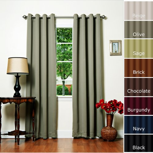 "Solid Grommet Top Thermal Insulated Blackout Curtain 84"" Length 1 Pair-DK OLIVE - GT"