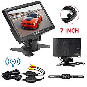 Ehotchpotch Car Vehicle Backup Camera & Monitor Parking Assistance System, Waterproof, IR LED Night Vision, 7'' Rear View Mirror Display, 2.4GHz Wireless Camera, Distance Scale Lines