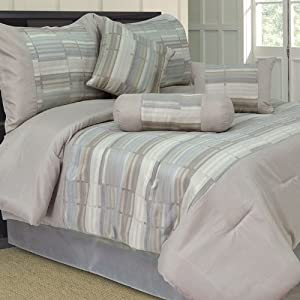 Lavish Home 7 Piece Queen Wam Jacquard Comforter Set (66-0001-Q) -