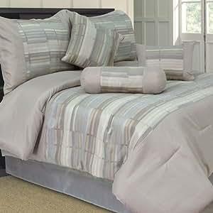 Lavish Home 7 Piece Queen Wam Jacquard Comforter Set (66-0001-Q) -
