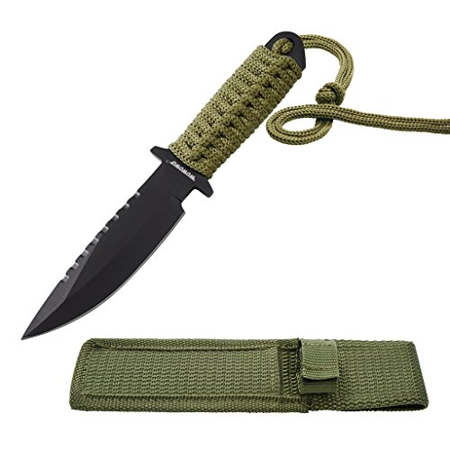 WOWOWO 7.5 Inch Combat Tactical Knife for Outdoor Camping Survivor with Nylon Sheath Fixed Blade
