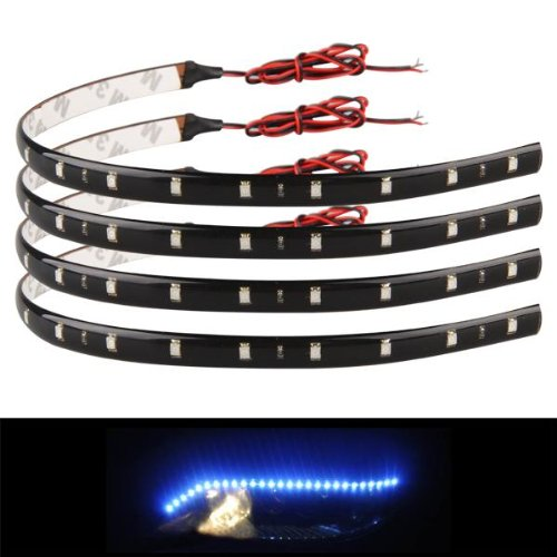 Ecloud Shop® 2 pieces 4 X Bande Lumineux Lampe 12V 15 LEDs Etanche Bleu Pour Voiture 30x1cm