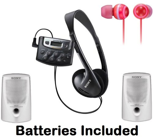 Sony Walkman Digital Tuning Palm Size AM/FM Stereo Radio with Weather Band, 20 Station Preset Memory, DX Switch for Exceptional Reception, Belt Clip, Over the Head Stereo Headphones, Spicy Red Fashion Earbud Headphones & Passive Lightweight Portable Speak