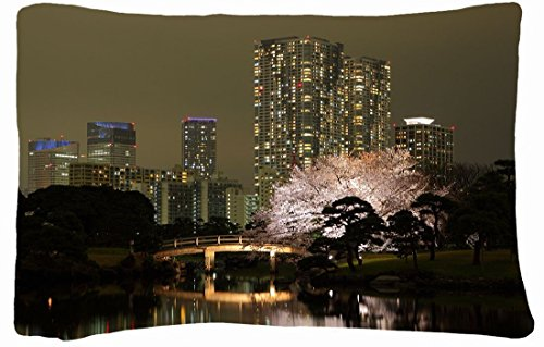 Microfiber Peach Queen Size Decorative Pillowcase -City Tokyo Building Night Images City Lights front-809646