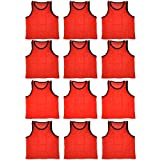 BlueDot Trading Youth High quality 12 Orange sports pinnies-12 High quality scrimmage training vests