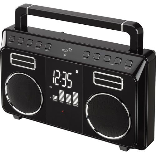 Ilive Bluetooth Retro Portable Boombox With Digital Fm Radio (Pll) & 20 Fm Station Presets, Built-In Rechargeable Battery, 3.5Mm Audio Input, Ac/Dc Adapter & Usb Cable Included