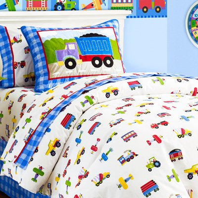Find Bargain Olive Kids Trains Planes and Trucks Cotton Duvet Cover, Twin