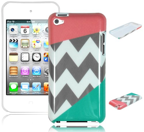 Bastex Snap On Case For Apple Ipod Touch 4 - Coral Pink & Teal Chevron Hard Cover front-797083